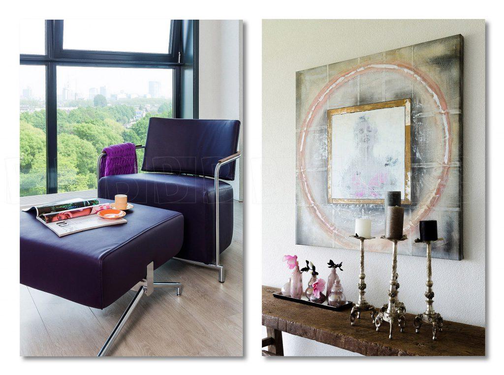 Interieur van woonhuis. Details van Meubilair en inrichting.