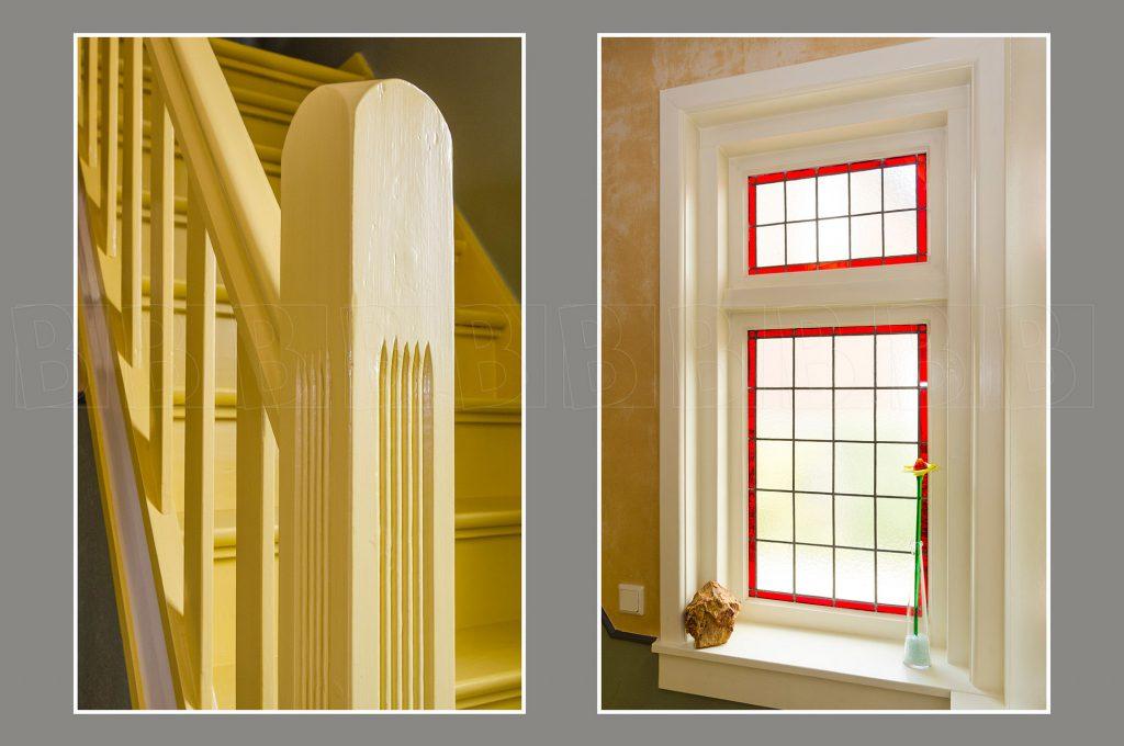 Interieur van woonhuis. Details van raam en trapleuning.